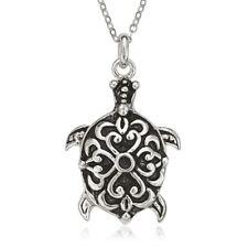 Sterling Silver Fancy Oxidized Turtle Pendant