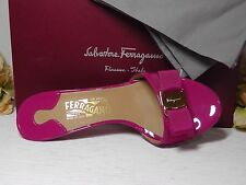 Salvatore Ferragamo Agata Rose Patent Leather Glory Bow Trim Sandal*Sz 8B*ITALY