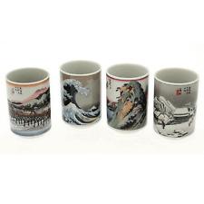 "4 PCS. Japanese 3-1/8""H Sushi Tea Cups Gift Set Hiroshige Tokaido, Made in Japan"