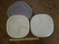 2 Rubbermaid Microwave Heatables Divided Plates & Lids 0059 Gently Used