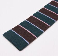 New $250 BORRELLI NAPOLI Knit Square-End Cashmere Tie Forest Green-Brown Stripe