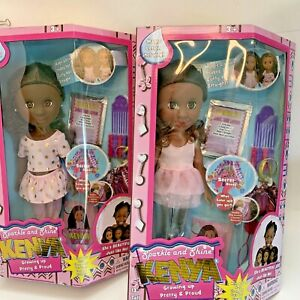 """2 Sparkle And Shine Kenya Doll Growing Up Pretty And Proud Hairstyling 13"""" Tall"""