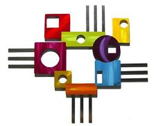 Colorful Funky Abstract Geometric Modenaire II Wood Metal Wall Hanging Sculpture