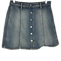 Women's Button Front A-Line Denim Skirt Stretch Above Knee Faded Glory Size 4