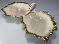 Lenox Goldleaf Collection Ivory Double Decorative Candy-Nut-Serving-Bowl-Di sh