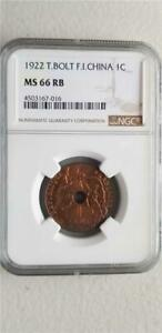 French Indochina 1 Cent 1922 Thunder Bolt NGC MS 66 RB
