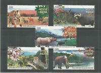 India 2007 National Parks of India Elephant Deer Tiger Leopard Rhinoceros 5v MNH