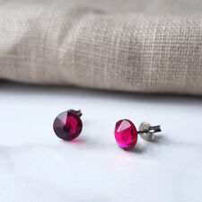 Titanium Earring Studs, Made with Swarovski Crystals Ruby 6.5mm, Hypoallergenic