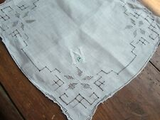 "Vtg White Handkerchief with ""N"" monogram in White. Scalloped Corners. Bridal"