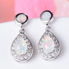4 Stone Xmas Holiday Gift White Fire Opal Gemstone Silver Stud Drop Earrings