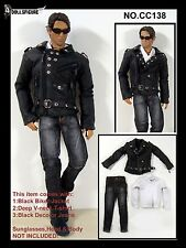 CC138 1/6 Clothing-Biker Jacket,Tee,Jeans Full Set for HOT TOYS,PHICEN
