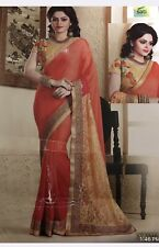 Saree With Fancy Semi Stitched Gold  Blouse With net Sleeve  Flower Embroidery