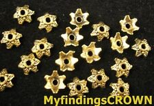 500 pcs Antiqued gold Dotted star bead caps FC848