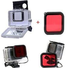 45M Impermeabile Custodia Cover + Rosso immersione Lente Filtro Per Gopro Hero 5