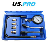 US PRO Compression Tester Gauge Kit For Petrol Engines M10 - M18 Adapters 5386