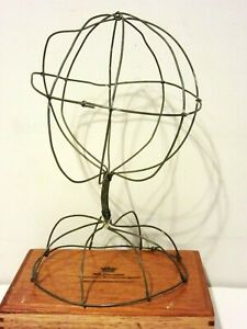 Vintage Abstract Wire Sculpture Mannequin Head Stand Mid Century Modern