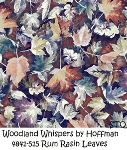 Woodland Whispers Autum Leaves Cotton Quilt Fabric by Hoffman 4841-515 Rum Rasin