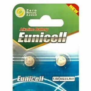 2 x Eunicell LR41 AG3 SR41 192 392 1.5v alkaline button thermometer battery