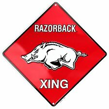 "Arkansas RAZORBACK XING 12"" x 12"" Embossed Metal Crossing Sign"