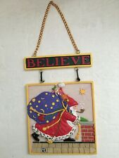 Mary Engelbreit Believe Christmas Ceramic Hanging Message Plaque 1999 Santa Toys