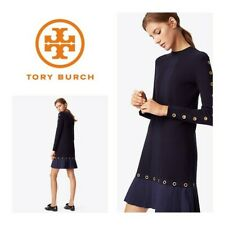 Tory Burch Shiloh Navy Pleated Dress