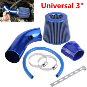 "Universal Car Truck Racing 3"" INCH Cold Air INTAKE FILTER+Pipe+Filter+ Clamp Kit"