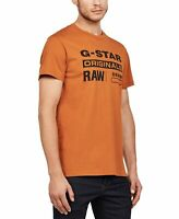 G-Star Raw Mens T-Shirt Rust Orange Small S Logo Graphic Tee Crewneck $50- 013