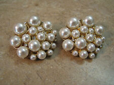 MUSI Vintage GOLD TONE SHOE BUCKLE CLIPS Faux Pearls RHINESTONES Jewel ART DECO