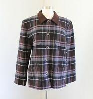 Vtg Pendleton Brown Blue Pink Plaid 100% Wool Blazer Jacket Size 10 Faux Suede