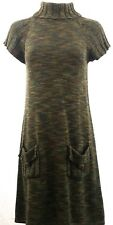 Marvin Richards Sweater Dress Turtle Neck Army Olive Green Multi Sz S