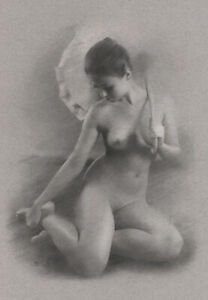 Female Nude ORIGINAL DRAWING Charcoal Art naked woman with parasol NO RESERVE
