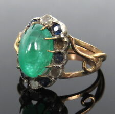 Antique 3.0ct Colombian Emerald Diamond Sapphire Silver & Gold Ring Size 8.75