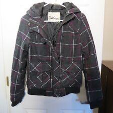 Fatal Charm Grey w/Purple & White Plaid style Hooded Jacket Women's Medium