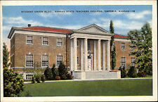 Emporia Kansas America Color AK ~1920/30 Student Union Building Teachers College