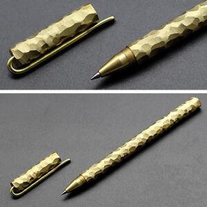 Solid Brass Rollerball Pen Handmade Gold Copper Gel Pen & Cap & Clip Metal Gift