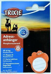 TRIXIE  Plastic  PAW Address Tag ID Pet WRITE CONTACT DETAILS PHOSPHORESCENT