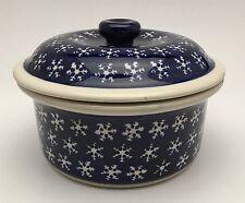 Boleslawiec Pottery Blue Snowflake Lidded Pot Dish Casserole Hand Made In Poland