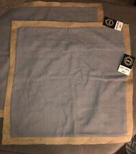 Set Of 2 Surya JF003-2222P Jute Flange 22 X 22 inch Medium Gray Pillow Covers