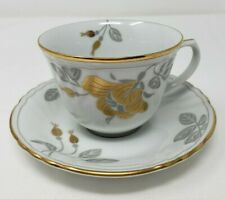 Fitz and Floyd Odeon 191 Flat Cup & Scalloped Saucer White Gold Gray Gold Trim