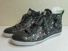 G By Guess Gray Lace Up Side Zip Sequin Shoes Boots Womens Size 6.5 M