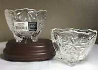 PAIR Mikasa Christmas Crystal Snowflake Footed Candleholder Candy Dish Bowl NEW