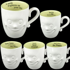 **3 FOR 2** SMILING FACE MUG TEA COFFEE FINE CHINA CERAMIC MUGS GIFT SET NOVELTY