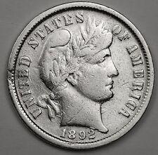 """1892 Barber Dime.  Error.  """"Piece of metal between 2 & neck.  High Grade. 105896"""