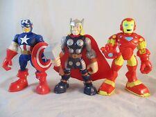 "Playskool Heroes 5"" SPIDERMAN IRON MAN THOR 3 Marvel Hasbro Action Figures lot"