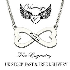 Name Necklace Gift Uk Vincenza Personalised Infinity Style Heart Pendant Engrave