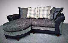 NEW 3 Seater Small Corner Sofa, Grey Black Chenille Fabric , Universal Settee