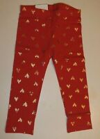 NWT Toddler Girls 24 Months Red Gold Hearts💕 Print Leggings Glitter Valentine's