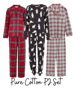 Ex M&S Pure Cotton Long Sleeve Classic Pyjama Set Flannel Many Prints & Sizes