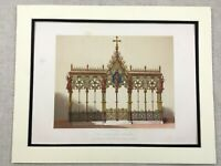 1862 Print Hereford Cathedral Screen Architecture Antique Chromolithograph
