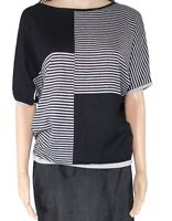 Vila Milano Women's Top Black Size Medium M Knit Striped Colorblock $54 #899